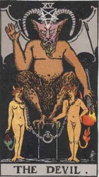 The Devil Tarot Deck from the Rider Waite Smith deck