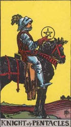 Knight of Pentacles, or Knight of Coins, Tarot card meaning and interpretation