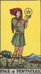 Page of Pentacles, or Coins, Tarot Card