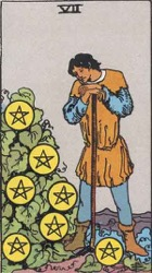 Seven of Pentacles, or Seven of Coins, Tarot card meaning and interpretation