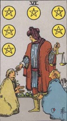 Six of Pentacles Tarot card meaning and interpretation