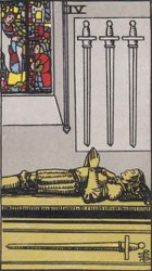 Four of Swords Tarot card meaning and interpretation