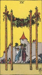 Four of Wands, or Four of Rods, Tarot card meaning and interpretation