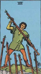 Seven of Wands, or Seven of Rods, Tarot card meaning and interpretation