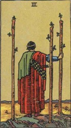 Three of Wands, or Three of Rods, Tarot card meaning and interpretation