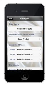 Wedding Date Numerology iPhone App Analyser Screen